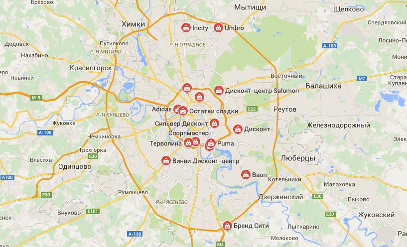 дисконт центы Москвы на карте